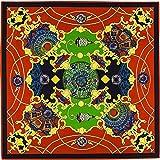 HuXwei Sciarpa di seta twill da 100 cm per donna Sciarpe quadrate Sciarpa silenziosa con stampa di cielo notturno Avvolge una grande bandana Bandana Foulard, rosso, 100x100 cm