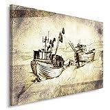 Feeby Frames, Tableau imprimé xxl, Tableau imprimé sur toile, Tableau deco, Canvas 40x50 cm, MARINE, BATEAUX DE PÊCHE, RIVE, PLAGE, SÉPIA