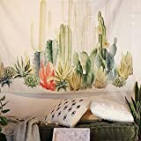 QCWN Tropical Plants Landscape Wall Tapestry Headboard Home Decor Wall Hanging Art(Multicolor) (Cactus, 78x59)