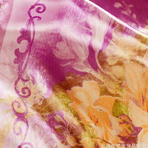 Aivtalk - Classique Foulard Carré en Satin Imprimé - 60*60cm - Elégant Echarpe Rétro Châle Multi-usages pour Voyage Reunion Sac Cadeau Femme Fille - 4 Couleurs aux Choix Violet