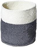 mDesign Aufbewahrungskorb (mittel) - Strickkorb rund aus robustem Polypropylen - Schrankkorb Regalkorb in Grau und Cremeweiß