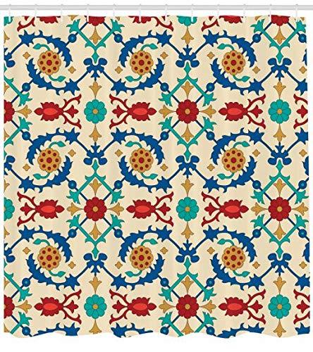 ABAKUHAUS marokkanisch Duschvorhang, Ethnic Barock Floral, Moderner Digitaldruck mit 12 Haken auf...