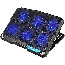Tecknet Raffreddamento Notebook Base di Raffreddamento Ventola PC Portatile Appoggio con Altezza Regolabile Cooler con 6 Ventilatore e 2 porte 12