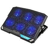 Tecknet Raffreddamento Notebook Base di Raffreddamento Ventola PC Portatile Appoggio con Altezza Regolabile Cooler con 6 Ventilatore e 2 porte 12'-15.6' per Laptop e Notebook, LED blu