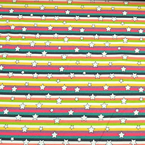 MAGAM Sara - Tela de jersey para niños, 50 cm multicolor estrella