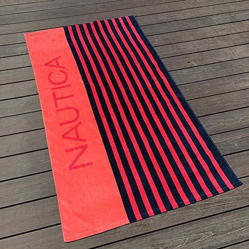 serviette de plage,Serviette de plage de style européen et américain, serviette de plage en coton pour hommes - rouge noir