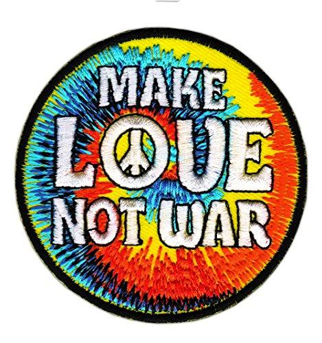 Make Love Not War Peace Zeichen Aufnäher Bügelbild Größe 7,4 x 7,4 cm - Jeans Peace-zeichen