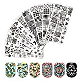 BORN PRETTY Nail Art Stamp Templates Flower Fruit Geometry Design Stamping Image 8Pcs Rectangle Stamp Plates