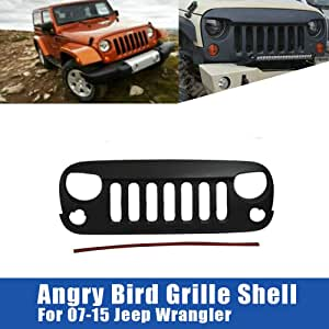 Alloyworks Angry Bird Schwarz Matt Vorne Kühlergrill Für Jeep Wrangler Rubicon Sahara Jk 2007 2015 Auto