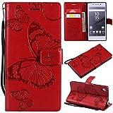 Hozor Sony Xperia Z5 Handyhülle, Retro Großer Schmetterling Muster PU Kunstleder Ledercase Brieftasche Kartenfächer Schutzhülle mit Standfunktion Magnetverschluss Flip Cover Tasche, Rot