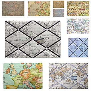 Pin/memo/Notice/Photo Cork memo board World Map Atlas London Fabric Choice of Colours and 8 Sizes