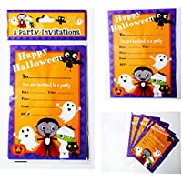 Halloween Party Invitations 8 Pack Invites Kids Children Cute Spooky Trick Treat