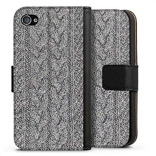 Apple iPhone X Silikon Hülle Case Schutzhülle Wolle Look Stricken Muster Sideflip Tasche schwarz