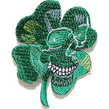 Skull Ghost Celtic Irish Four Leaf Clover Good Luck Symbol Military