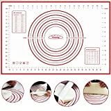Silicone Mat - Reusable Non-stick Pastry Mat, Baking Mat, Cookie Mat, Dough Mat With Measurements, Standard Size 60CM x 40CM, Full Sticks To Countertop For Rolling Dough, Conversion Information Included – Cake Mat By KARP - Red Color