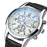 Hansee Genossen Luxus-Mode Kunstleder Herren Blue Ray Glas Quartz Analog Uhren (C)
