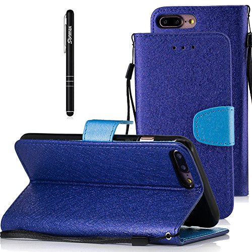 Slynmax Cover iPhone 7 Plus / iPhone 8 Plus Custodia Flip Case Pelle PU Cuoio Morbida Libro Magnetico Portafoglio Wallet Modello di Posta Design di Lusso in rosso + 1* Stilo Stylus Penna Capacitiva Blue
