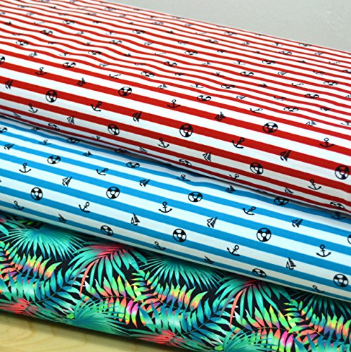 MAGAM-Stoffe Badeanzug-Stoff/Bademoden/UV Schutz/Meterware ab 50cm - MX-10-3 (2. Streifen blau) (Bademoden, Stoff Sportbekleidung)