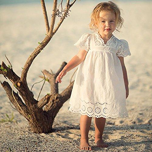 Mädchen Sommer Weiß Rock Kleid - Baby Engel Stil Hohle Kleider für Kleinkinder Kinder 2-7 Jahre alt - von Juleya / 2-3 Jahre