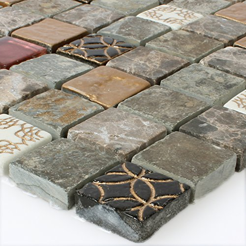Glas-mosaik-fliese (Glas Naturstein Mosaik Fliesen Mix)