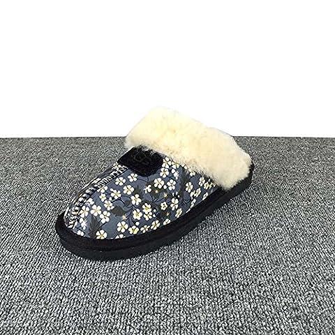 SHANGXIAN Winter Women's Home Classic Twin Face Sheepskin Slippers Chestnut Warm fur Shoes , BLACK ,