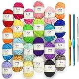 Pack premium de pelotes de laine mini - 24x10g pelotes de laine en acrylique – 20 mètres de longueur par pelote – Idéales pour tous les mini projets de crochet et de tricot