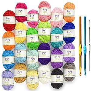 Confezione di gomitoli di filato di alta qualità,24matasse in colori assortiti. Ideale per qualsiasi mini progetto con l'uncinetto e a maglia; in borsarichiudibile