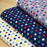 MAGAM-Stoffe Baumwoll-Stoff ''Nasch-Mich'' bunter Kinder-Stoff aus 100% Baumwolle - Meterware ab 50cm - FX (Sterne auf weiß)
