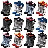 Lavazio Lot de 12 paires de socquettes pour femmes, hommes et adolescents Noir/blanc/couleur - multicolore -