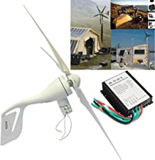 HITSAN 400W DC 12V 24V Wind Turbine Generator with Waterproof Charge Controller and 5 Blades - 1 Piece