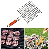 #10: Xectes Chromium Plated Barbecue Bbq Grill Pan With Wooden Handle