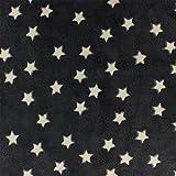 Kiyohara Kinder Stoff Fleecestoff Sterne schwarz x10cm