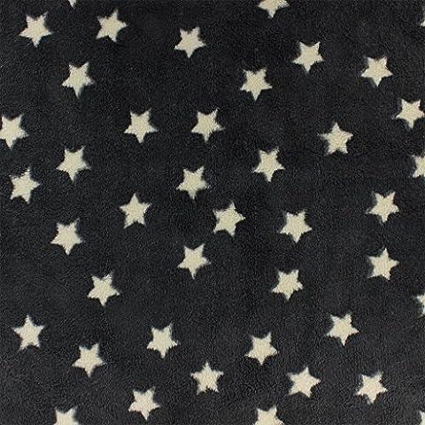 Tissu enfantin Kiyohara - Doudou polaire motif Etoile Noir x10cm
