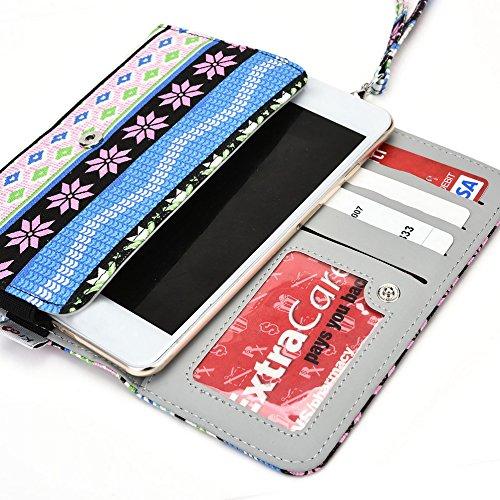 Kroo Téléphone portable Transport avec porte cartes de crédit pour de nombreux 5à 6pouces avec étui pour huawei/lenovo/LG/Motorola/Microsoft multicolore Navy Blue Red bleu