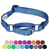 Blueberry Pet Sicherheitstraining Martingale Hundehalsband Klassisch Einfarbig 2 cm M Basic Polyester Nylon Hundehalsband Langlebig - Marina Blau