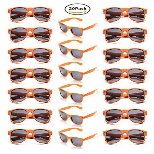Onnea 20 Stück Party Favors 80's Sonnenbrille UV400 Schutz für Damen Herren (20 Orange)