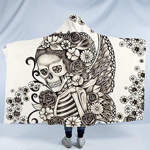 WWTZ BlessLiving Gothic Skull Hooded Blanket Superweiche Retro Butterfly Rose Blanket Schwarzweiss-Skelett-Sherpa-Fleecedecke Retro Hooded Fleece