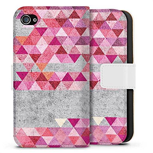 Apple iPhone X Silikon Hülle Case Schutzhülle Dreiecke Hipster Muster Sideflip Tasche weiß