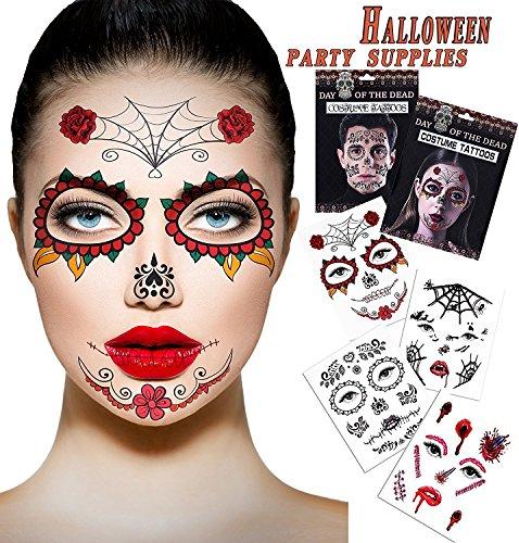 Halloween Temporäre Narbe Blut Tattoos 4 Blatt Gesicht Tattoos Kit: Skelett Tag der Toten Temporäre 2 Blatt Halloween Prom Spinne, Blut, Narbe, Fledermaus Kostüm Tattoos 2 ()