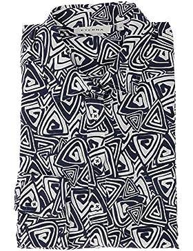 ETERNA Damen Bluse 1/1 Langarm Businessbluse aus 100% Baumwolle Marine Weiss Bedruckt