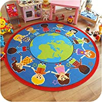 Superb Bright Kids/Childs Rug Children of The World Globe Large Round 2.0m x 2.0m (6