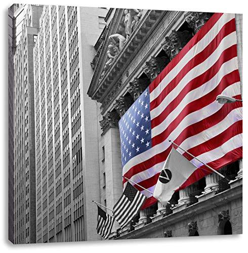eindrucksvolle amerikanische Flagge schwarz/weiß, Format: 70x70 auf Leinwand, XXL riesige Bilder fertig gerahmt mit Keilrahmen, Kunstdruck auf Wandbild mit Rahmen, günstiger als Gemälde oder Ölbild, kein Poster oder Plakat