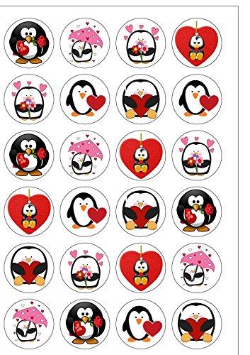 24 vorgeschnittene Runde Pinguine Valentine Essbare Wafer Papier-Kuchen-Deckel-Dekorationen von Top That