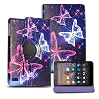 Kamal Star KINDLE FIRE HD 8 2017 Case, Leather Wallet flip cover,back stand cover, Full Body protection tablet cover by (Blue Butterfly)
