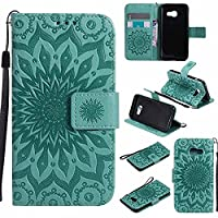 Galaxy A3 2017 Case, Dfly Premium Soft PU Leather Embossed Mandala Design Kickstand Card Slots Holder Slim Flip Protective Wallet Cover for Samsung Galaxy A3 2017, Green