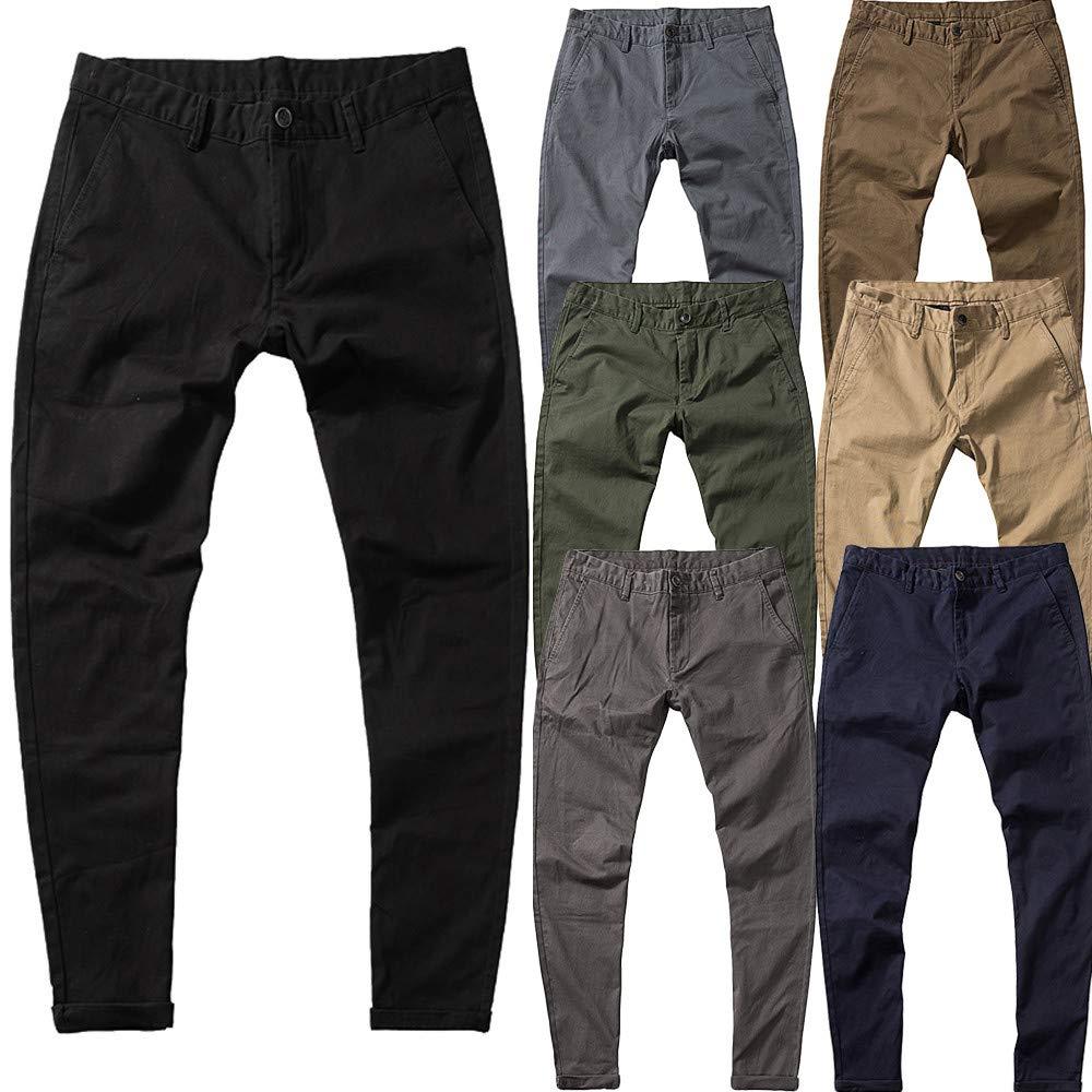 5e7f2a6f1f Hombres Moda Puro Color Bolsillo Elástico Casual Algodón Pantalon ...