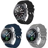 Aimtel Compatibel met Samsung Galaxy Watch 3 45mm Strap,[3 Pack] Zachte siliconen Sport Band Vervanging Strap met Metalen Slu