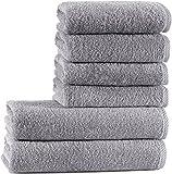 Seventex Reines Organisches Ägäis Baumwolle 6 Stück Handtuch Set, 2 Badetücher, 4 Handtücher, Bio Baumwoll, Organic, Duschtuch / Händehandtuch, Grau
