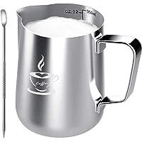 Pot à Lait en acier inoxydable 350ml, tasse de pot à Lait taille parfaite pour 2 tasses à cappuccino, machine à expresso…