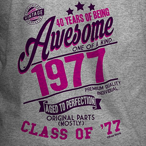 40 Years Of Being AWESOME Damen 40th T-Shirt Class of 1977 GEBURTSTAG Gift Aged to Perfection von Buzz Shirts® Grau